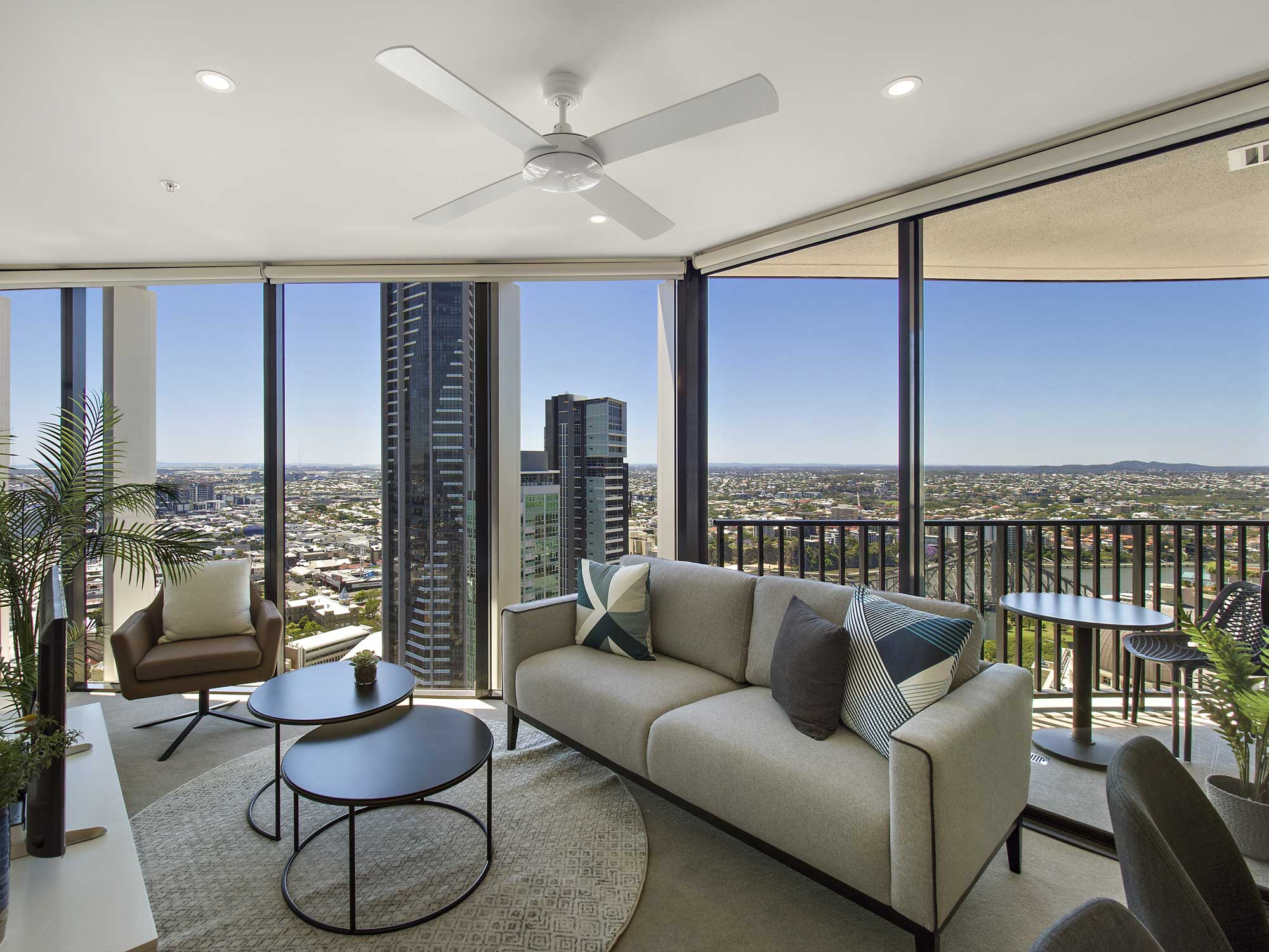 Spire Residences top floor view looking across Brisbane CBD