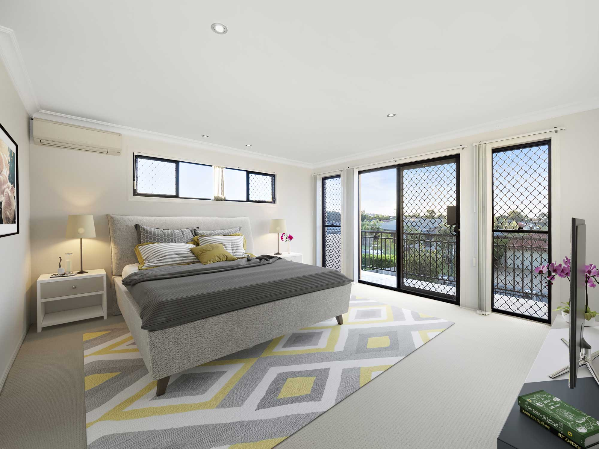 virtual furniture added to modern bedroom, home for sale Kuraby