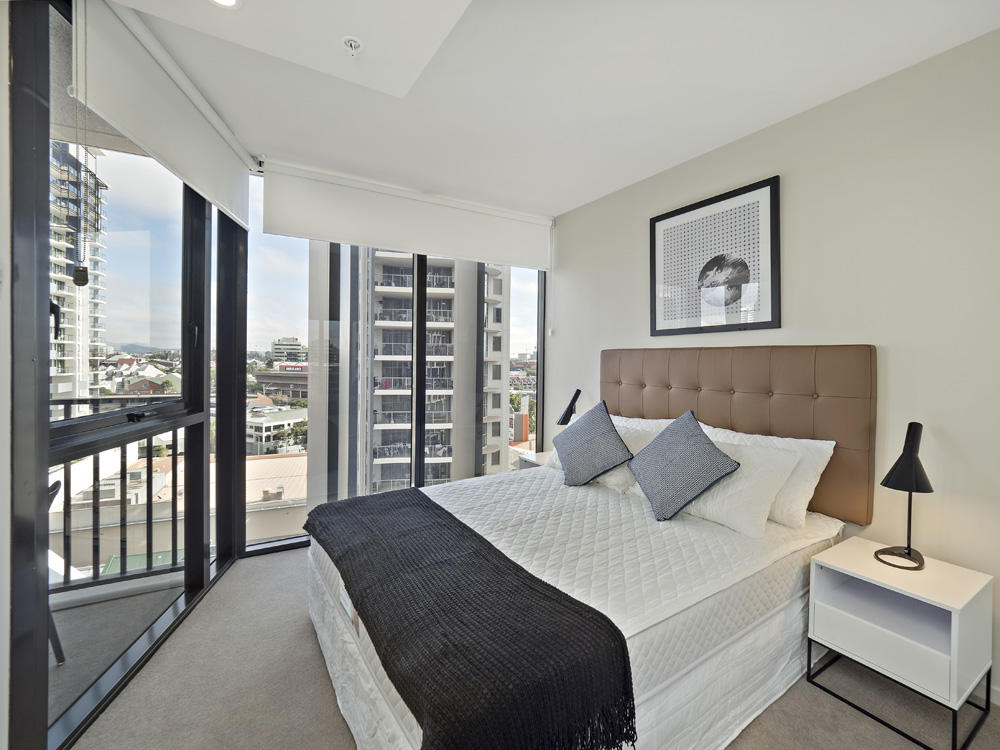Real estate apartment photography Spire Residences, Apartment 1210 bedroom, July 2018