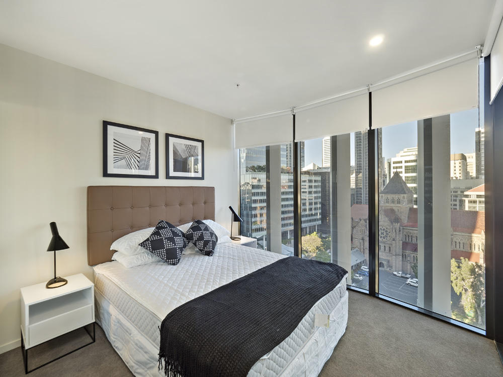 Real estate apartment photography Spire Residences, Apartment 1404 bedroom, August 2018