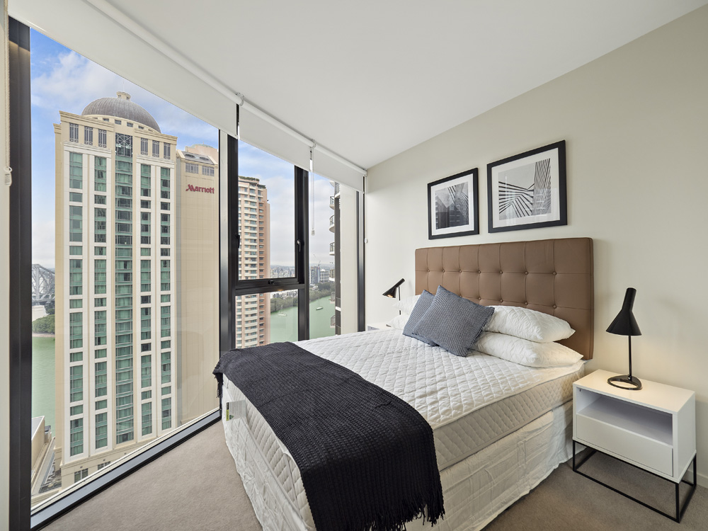 Real estate apartment photography Spire Residences, Apartment 1904 bedroom , August 2018