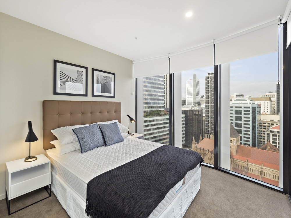 Real estate apartment photography Spire Residences, Apartment 2108 bedroom, August 2018