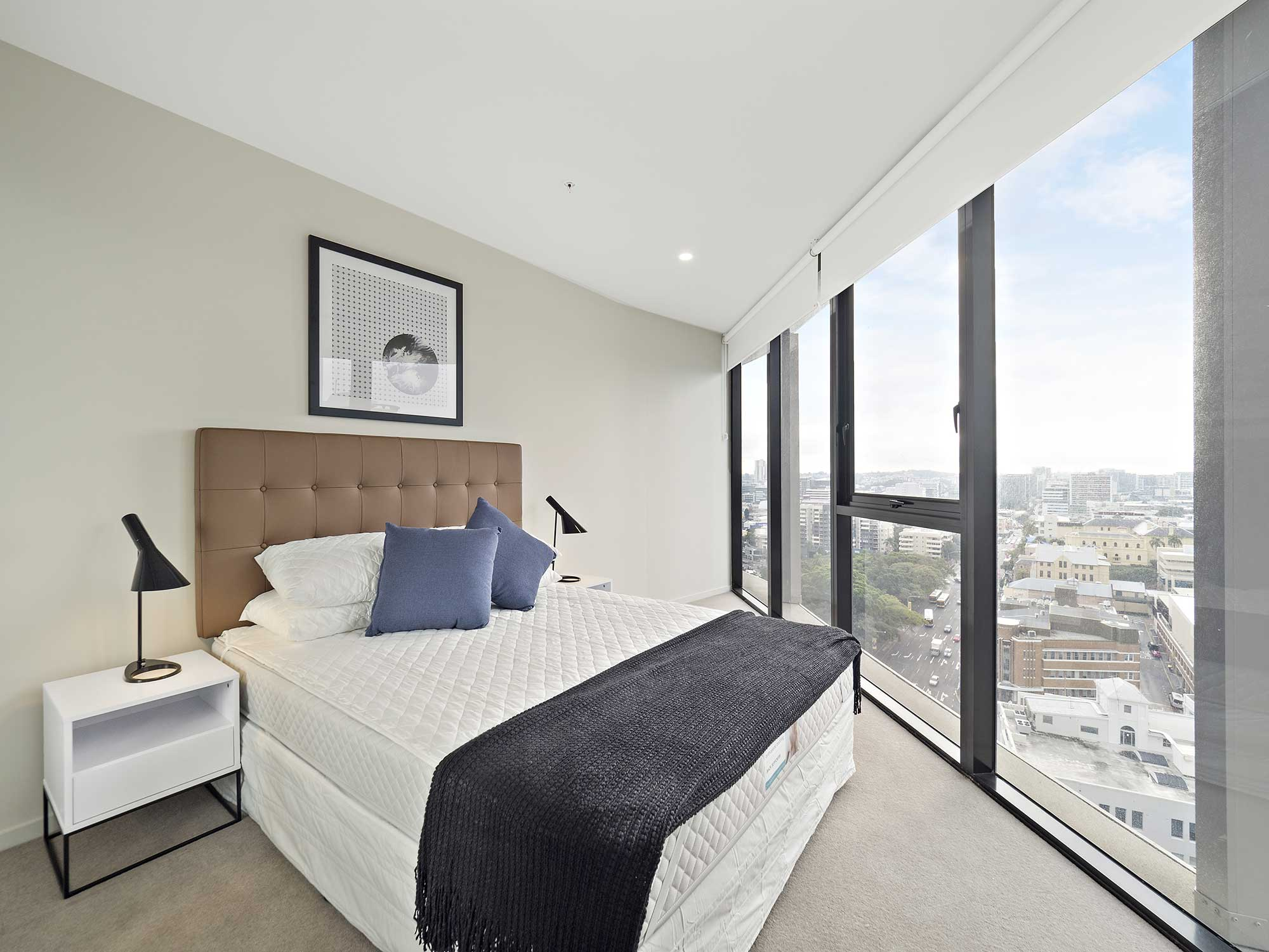 Real estate apartment photography Spire Residences, Apartment 1904 bedroom, August 2018