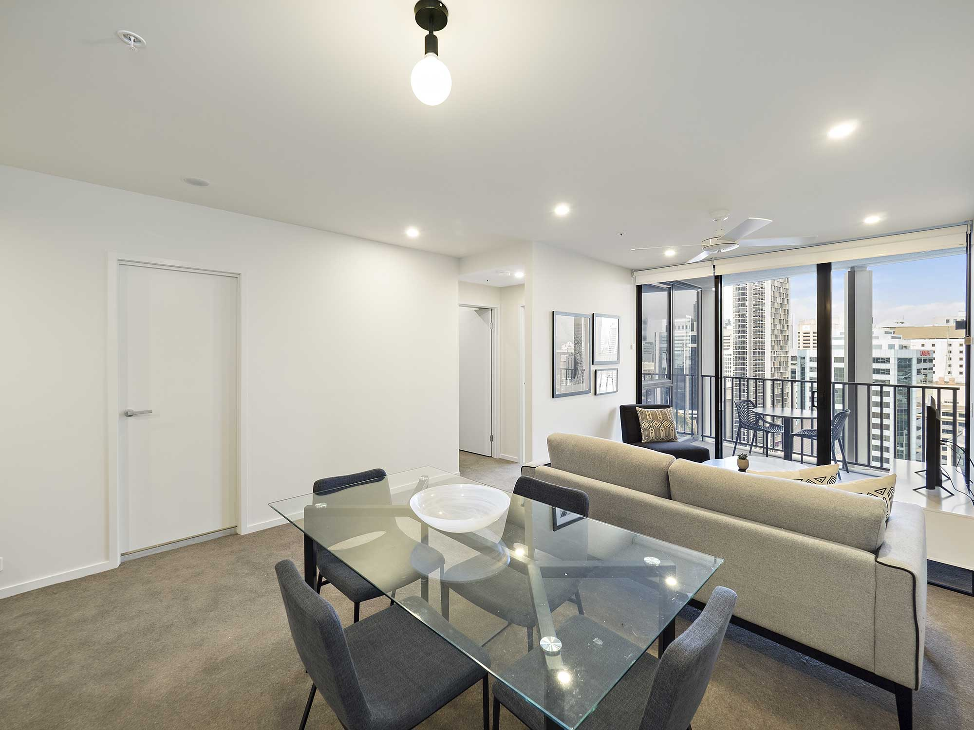 Real estate apartment photography Spire Residences, Apartment 2108 lounge, August 2018