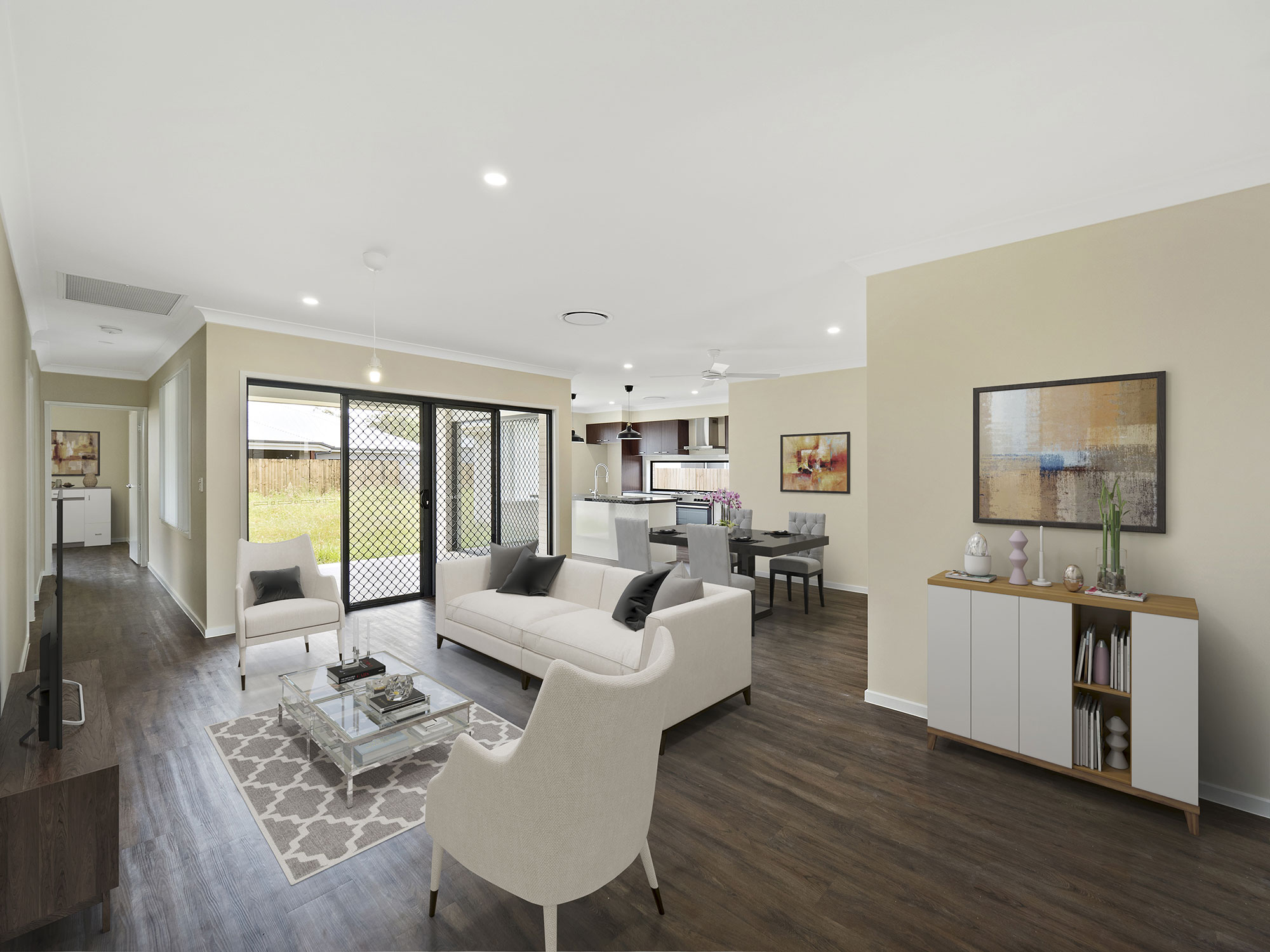 lounge with virtual furniture - real estate marketing photography new homes Alphaline Homes Griffin
