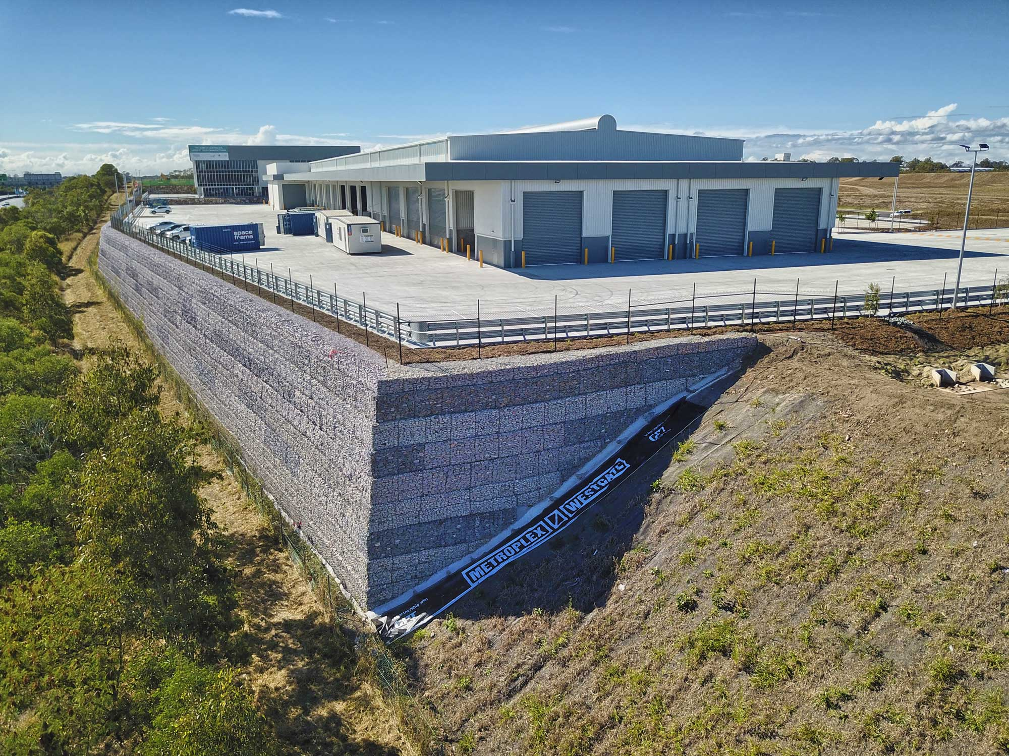Drone photography of retaining wall at Richlands - Metroplex West