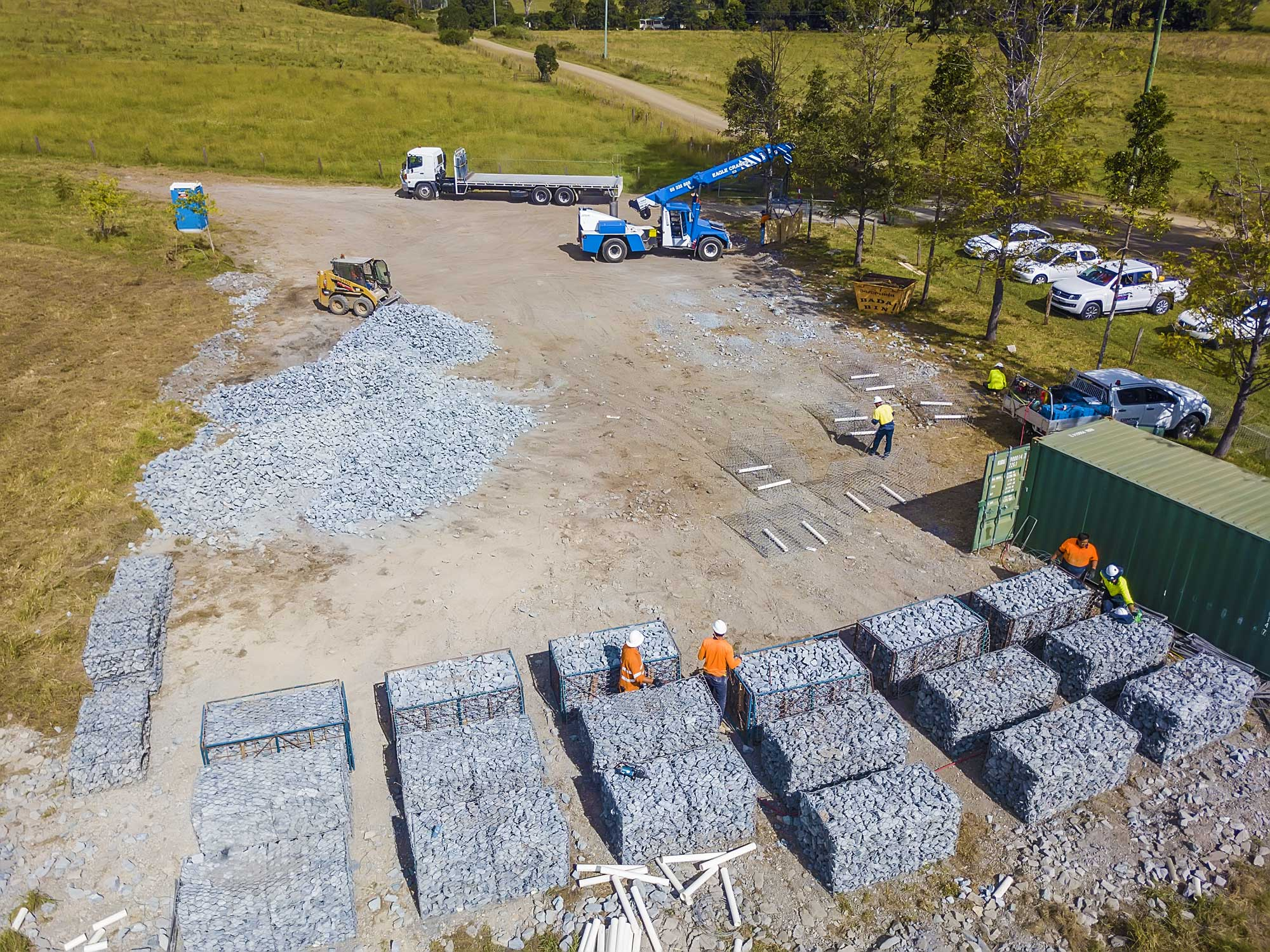 Drone Photography of gabion basket construction