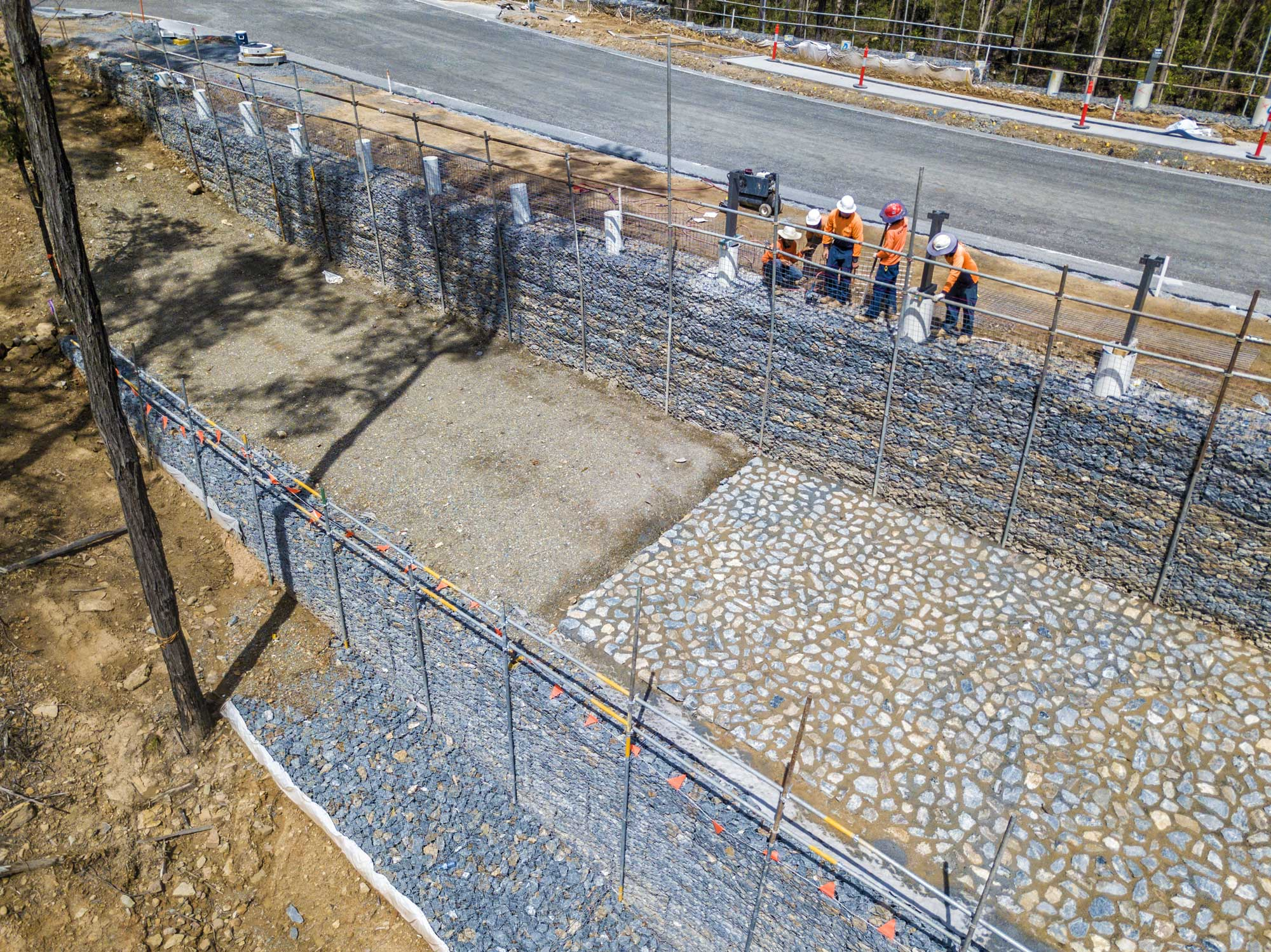 Construction photography - Concrib Pty Ltd retaining wall at Springfield West