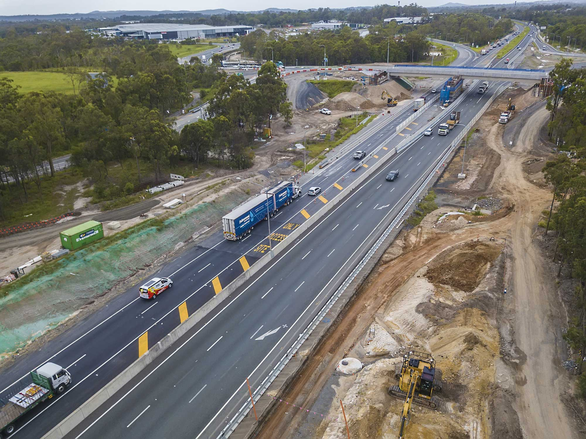 Drone Photography Brisbane - road barrier safety project Logan Motorway