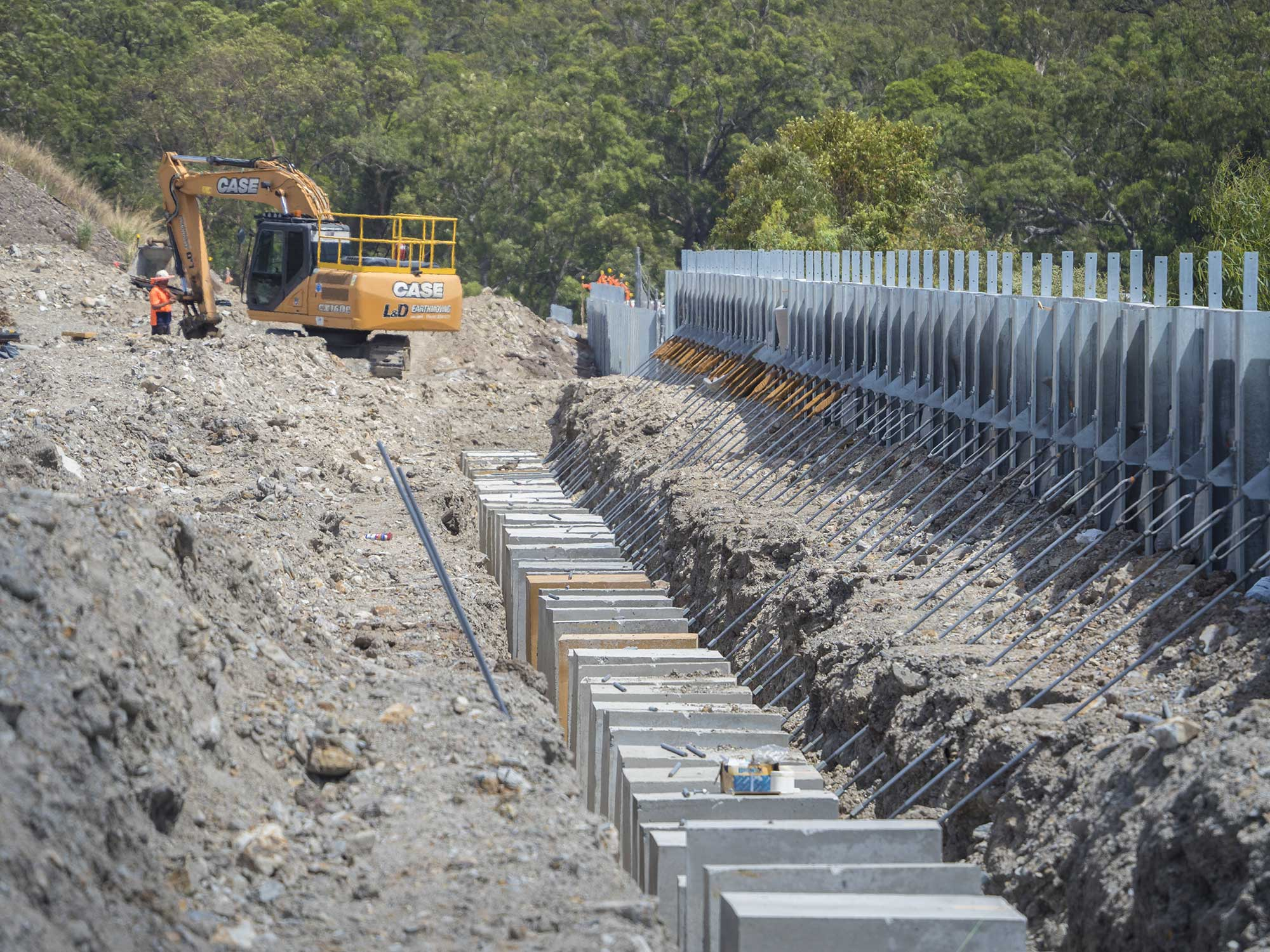 Construction photography for Concrib Pty Ltd retaining wall at Yatala