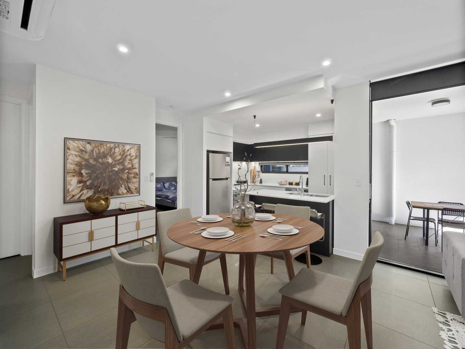The dining area with virtual furniture table added - Apartment photography at Upper Mt Gravatt