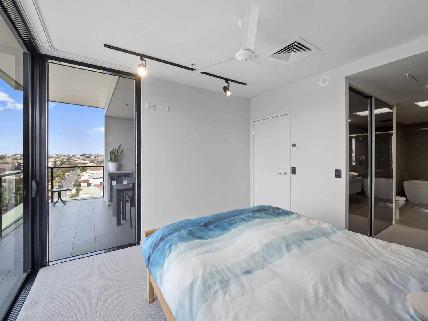 Photographing the master bedroom - 9 Edmonstone St South Brisbane apartment photography