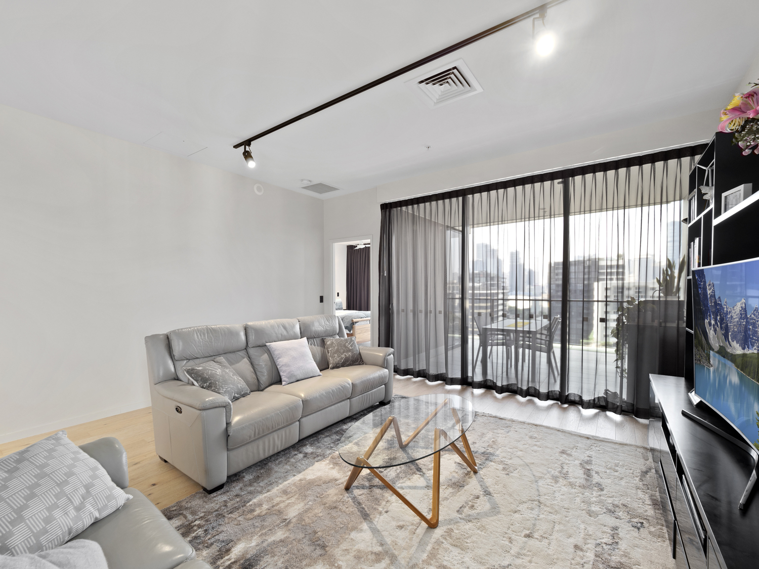 Photographing the lounge area - 9 Edmonstone St South Brisbane apartment photography
