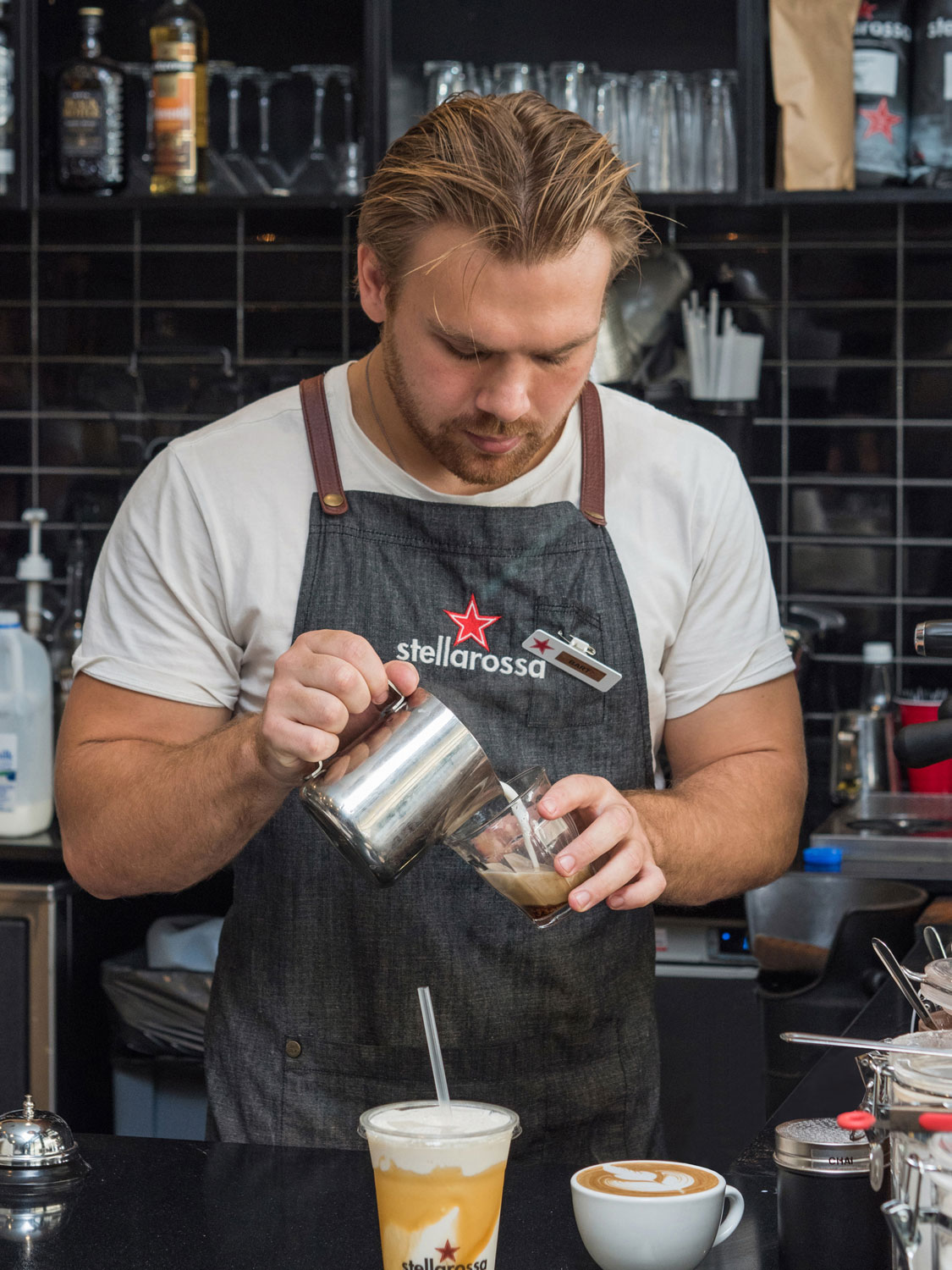 Pouring the coffee - Commercial photography shoot for Stellarossa Coffee