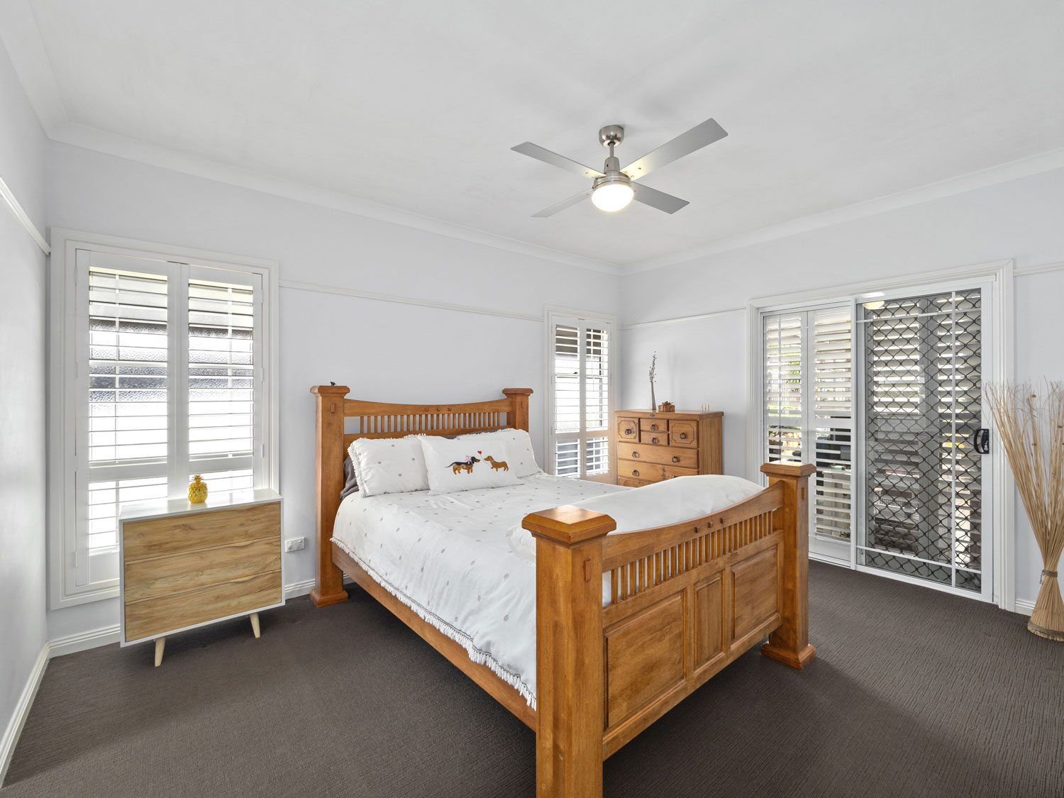 The master bedroom of a home for sale at Eaton's Hill